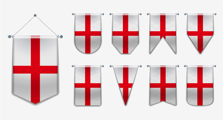 Illustration pour Set of hanging flags of the ENGLAND with textile texture. Diversity shapes of the national flag country. Vertical Template Pennant for background, banner, web site, logo,award, achievement, festival. EPS - image libre de droit