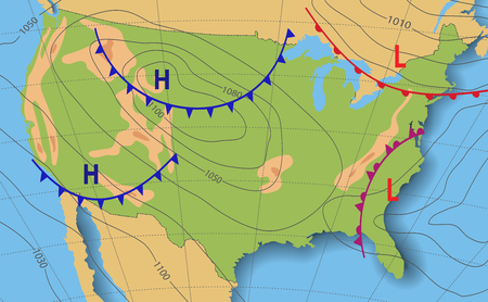 Illustration for Weather forecast. Meteorological weather map of the United State of America. Realistic synoptic map USA with aditable generic map showing isobars and weather fronts. Topography and physical map. - Royalty Free Image