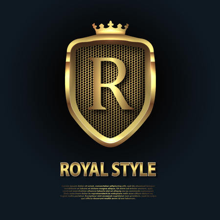 Ilustración de Letter R on the shield with crown isolated on dark background. Golden 3D initial logo business vector template. Luxury, elegant, glamour, fashion, boutique for branding purpose. Unique classy concept - Imagen libre de derechos