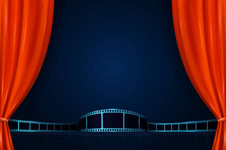 Illustration for Realistic red curtains with film strip. Cinema movie background. Open curtains as template movie presentation, advertising or film award announcement. 3D style. Premiere festival or event design - Royalty Free Image