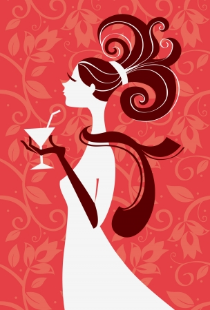 Beautiful woman silhouette with a glass in a hand, vector illustration