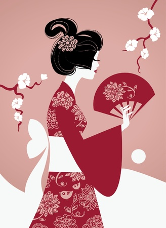 Japanese girl silhouette