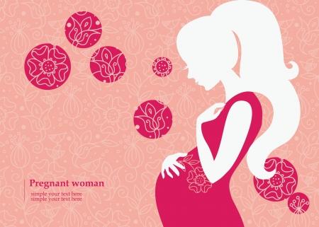 Illustration pour Silhouette of pregnant woman in spring - image libre de droit