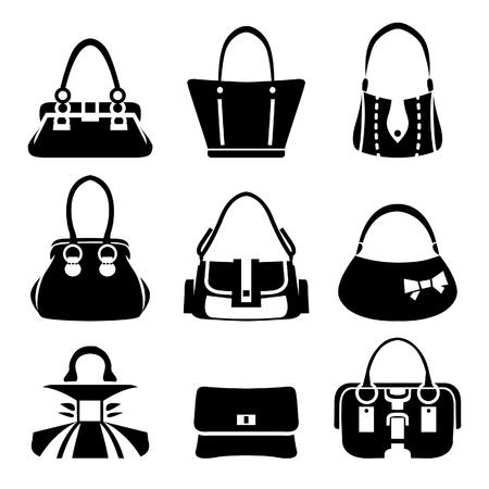 Illustration pour Vector icons of female bags - image libre de droit