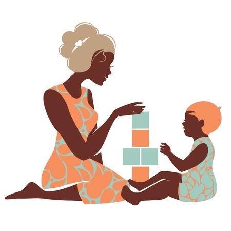 Illustration for Beautiful silhouette  of mother and baby playing with toys. Happy Mother's Day - Royalty Free Image