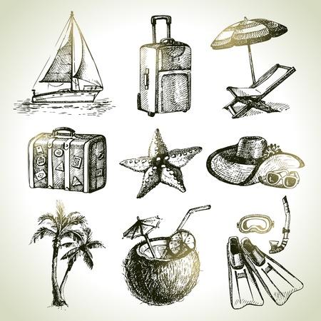 Ilustración de Travel set. Hand drawn illustrations  - Imagen libre de derechos