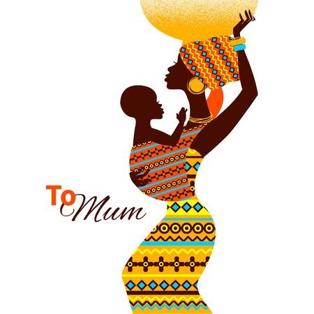 Ilustración de Beautiful silhouette of black african mother and baby in retro style  Cards of Happy Mother - Imagen libre de derechos