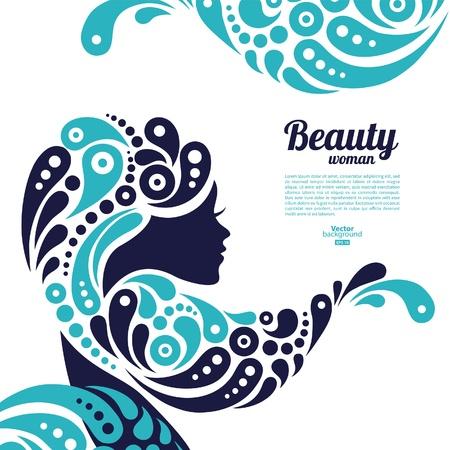 Ilustración de Beautiful woman silhouette  Tattoo of abstract girl hair  Marine design - Imagen libre de derechos