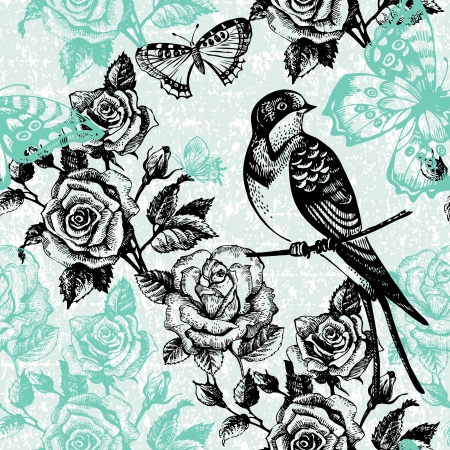 Illustration pour Vintage seamless floral pattern  Hand drawn illustration with bird and butterfly - image libre de droit