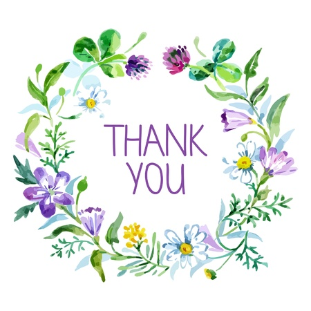 Thank you card with watercolor floral bouquet. Vector illustration