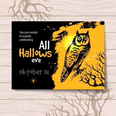 Halloween invitation. Vintage hand drawn illustration