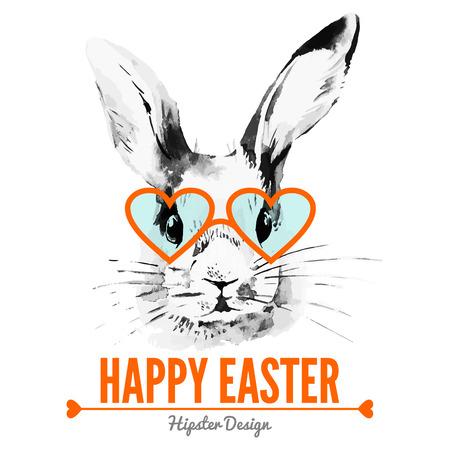 Ilustración de Hipster Easter rabbit. Card with sketch watercolor hand drawn illustration - Imagen libre de derechos
