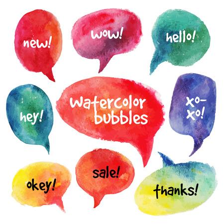 Illustration pour Watercolor speech bubbles set  Vector illustrations - image libre de droit