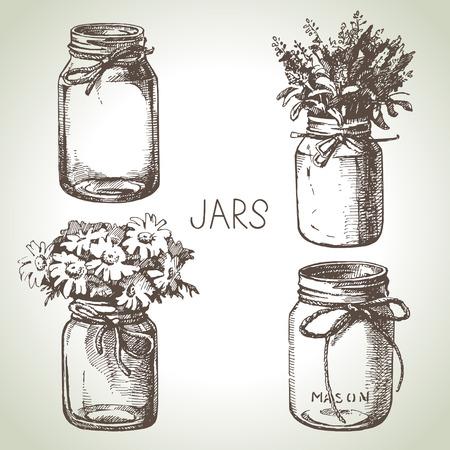 Illustration pour Rustic, mason and canning jars hand drawn set. Sketch design elements. Vector illustrations - image libre de droit
