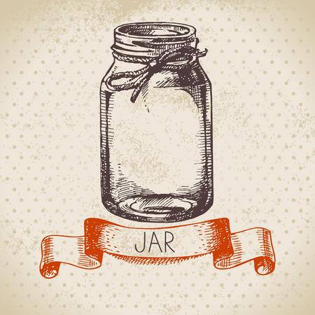 Foto de Rustic, mason and canning jar. Vintage hand drawn sketch design. Vector illustration - Imagen libre de derechos