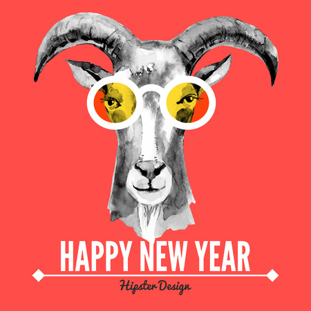 Illustration for Merry Christmas and Happy New Year card with watercolor portrait of hipster goat. Hand drawn vector illustration - Royalty Free Image
