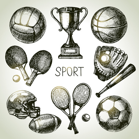 Hand drawn sports set. Sketch sport balls. Vector illustration