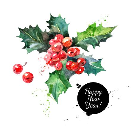 Vektor für Watercolor Christmas holly branch with berry. Happy new year card - Lizenzfreies Bild