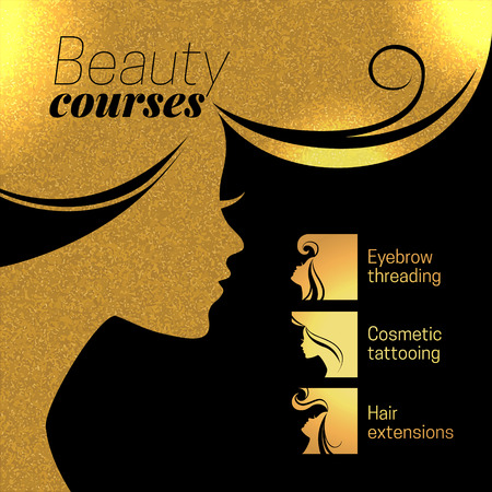 Gold beautiful girl silhouette. Vector illustration of woman beauty salon design. Infographics for cosmetic salon. Beauty courses and training poster