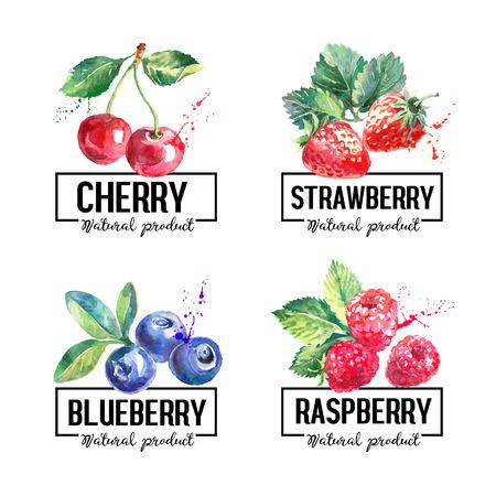 Illustration pour Eco food labels set. Watercolor hand drawn sketch berries. Farmers market banners. Vector illustration - image libre de droit