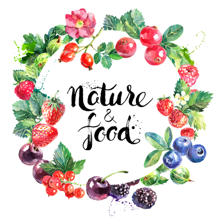 Eco food organic cafe menu design. Watercolor hand drawn natural fresh fruits and berries vector illustration on white background