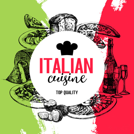 Vektor für Restaurant Italian cuisine menu design. Vintage hand drawn sketch vector illustration - Lizenzfreies Bild