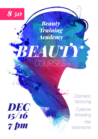 Illustration for Beauty courses and training poster. Beautiful watercolor acrylic watercolor girl silhouette. Vector illustration of woman beauty salon design - Royalty Free Image