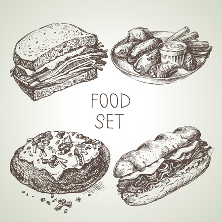 Illustration for Hand drawn food sketch set of steak sub sandwich, buffalo chicken wings, backed potato, beef sandwich. Vector black and white vintage illustrations - Royalty Free Image