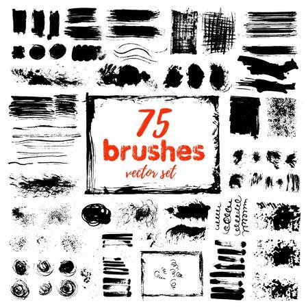Illustration pour Hand draw sketch paintbrush set. Artistic sketch grunge painted brash isolated vector illustration - image libre de droit