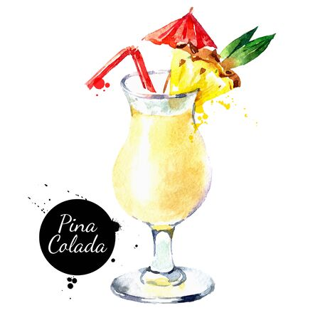 Illustration pour Hand drawn sketch watercolor cocktail Pina Colada. Vector isolated food illustration - image libre de droit
