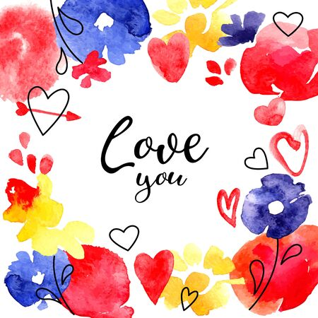 Illustration pour Valintine Day greeting card. Hearts and flowers painting. Love abstract design. Vector illustration - image libre de droit