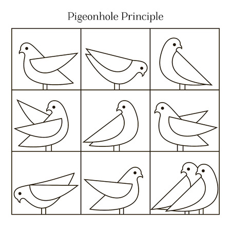 Vector Pigeonhole Principle illustration. Line illustration. Vector icons of pigeons.