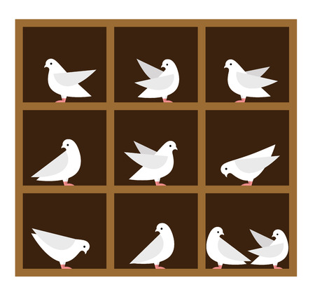 Vector Pigeonhole Principle illustration. Flat illustration. Vector icons of pigeons.
