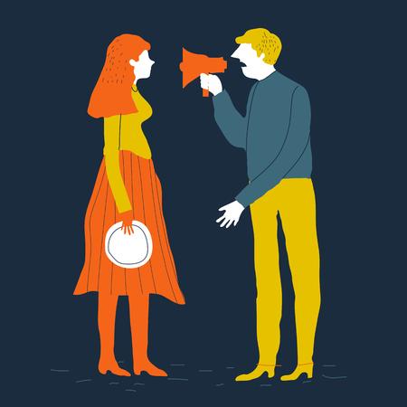 Illustration pour Couple man and woman characters quarrel. Vector illustration. Divorcing couple vector concept. Family conflict. Creative illustration. - image libre de droit