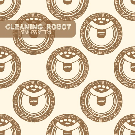 Vacuum cleaning robot seamless pattern. Vintage style, hand drawn pen and ink. Vector seamless pattern. Retro design element for electronics store packaging