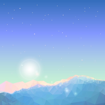 Illustration for Geometric polygonal mountain landscape. Vector background of polygonal low poly mountain view. Highlands landscape, vector background for flyer, advertising, banner, ads, poster - Royalty Free Image