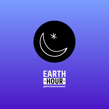 Earth Hour is a Global Environmental Movement. Vector icon with text. Concept of energy saving and stopping climate change. Star and crescent, symbol of dark sky