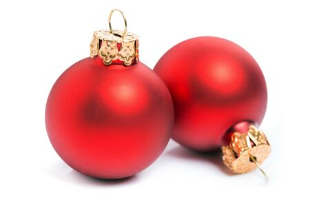 Photo pour Two red christmas baubles isolated over a white background. - image libre de droit