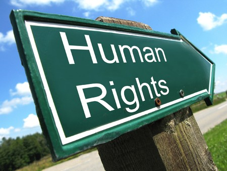 HUMAN RIGHTS road sign