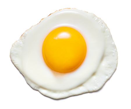 Photo for single fried egg isolated on white background - Royalty Free Image