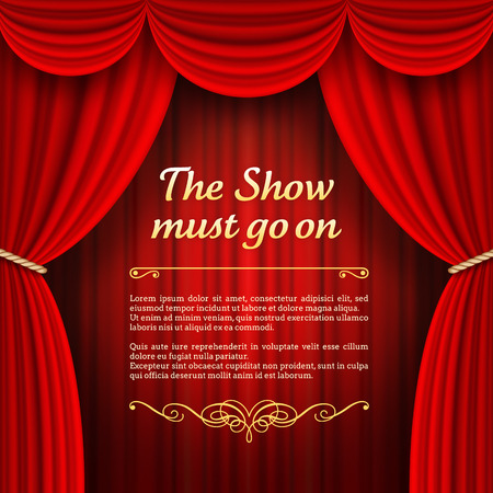 A vector illustrations of a Theater stage with red Full Stage Curtains