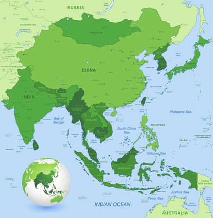 Illustration pour High detail map of far east Asia with a 3D Globe centered on these countries - image libre de droit
