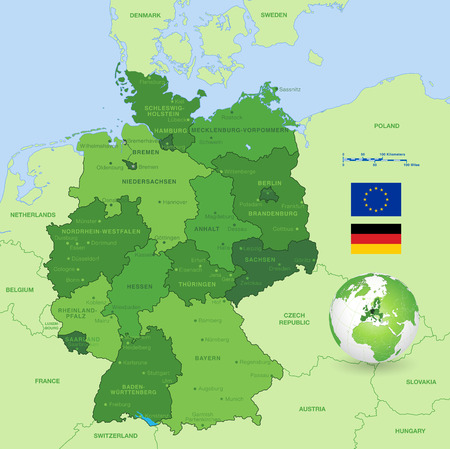 Map Of Germany With States And Cities.A High Detail Vector Map Of Germany States And Major Cities With A