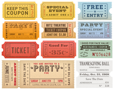 A comprehensive set of high detail Vintage grunge Tickets and Coupons, suitable for paper or web publishing.