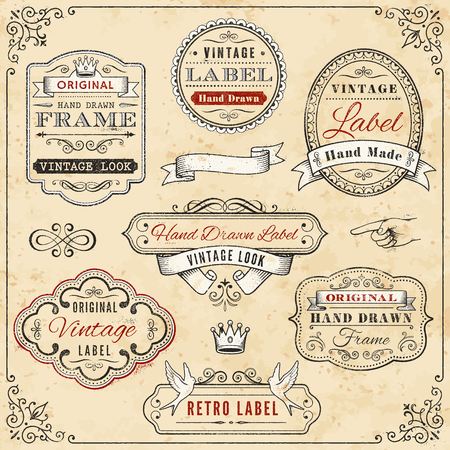Illustration pour Illustration of seven hand-drawn vintage labels against a weathered, cream-colored background, bordered with a vintage design - image libre de droit