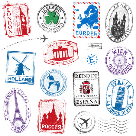 Illustration for A high detail collection of Travel Stamps concepts, with traditional symbols from all major countries of Europe - Royalty Free Image