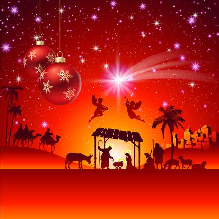 Illustration pour High detail Vector nativity Christmas Scene. - image libre de droit