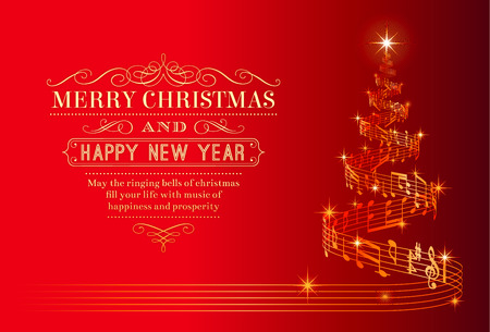 A nice Christmas Greeting Card with a Christmas tree composed by a flowing music pentagram