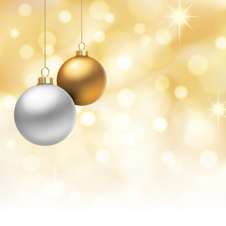 A Golden Christmas background, with multicolored christmas balls decorated with snowflakes, hanging from above.