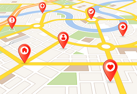 Vector Perspective city map with red markers and rounded icons